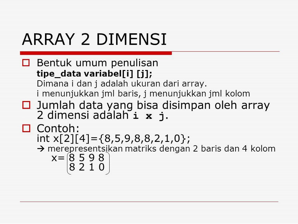 ARRAY 2 DIMENSI Bentuk umum penulisan. tipe_data variabel[i] [j]; Dimana i dan j adalah ukuran dari array.